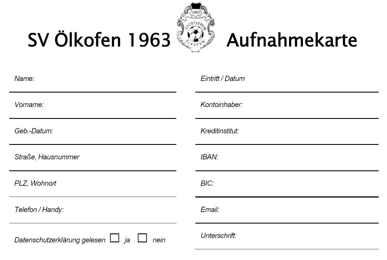 Aufnahmekarte SVÖ